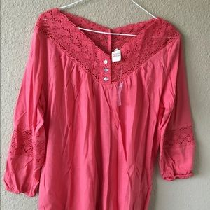 Sundance Catalog $78 crochet lace tee blouse S